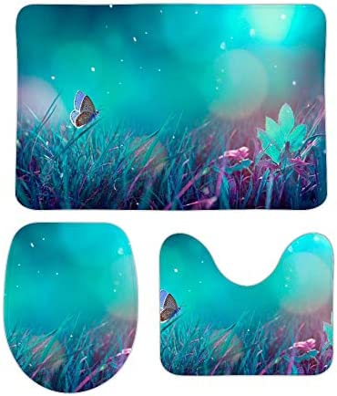 Osvbs Coral Velvet Non-Slip Bath Mat Set 3 Piece Bathroom Mat Set Includes Bathroom Rugs U-Shaped Contour Rug O-Shaped Toilet CoverBlue-Purple Moonlight Butterflies on The Grass / Osvbs Coral Velvet Non-Slip Bath Mat Set 3 Piece Ba...
