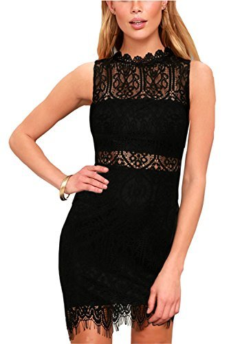 Zalalus Women's Summer Cocktail Lace Dresses Elegant Sleeveless Casual Formal Wedding Party Bodycon Mini Dress Above Knee Length High Neck Dress Black US6
