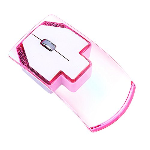 3 Button Notebook - Richer-R Wireless Mouse, Portable Ultra-thin 2.4G 1000 DPI Wireless Mouse Mice with Colorful Luminous Lights with 3 Buttons for Notebook Computer(Pink)
