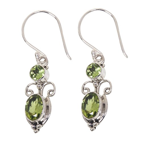NOVICA Peridot and .925 Sterling Silver August Birthstone Dangle Earrings, Crown Princess' (1.1cttw)