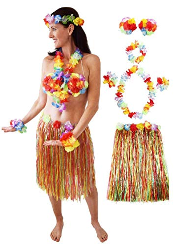 Hawaiian Hula Costume for Women and Girls, Hawaiian Party Costume, Luau Outfit, Hula Party Costume, Grass Skirt]()