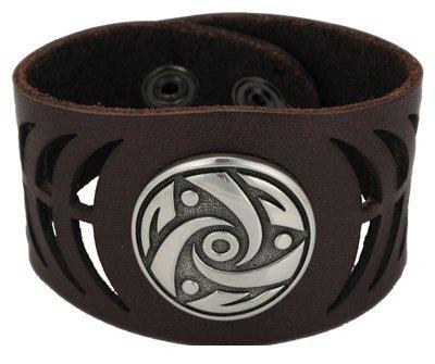 Bico Cuir Marron poignets/bracelets avec un insert en métal (Bwe4Marron)