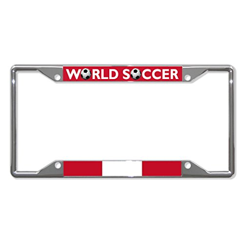 Peru Block - Peru World Soccer Chrome License Plate Frame Tag Holder Four Holes