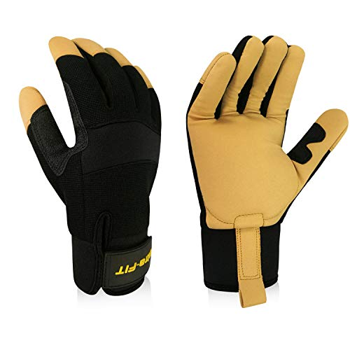 Intra-FIT Heavy-Duty Anti-Vibration Gloves Reinforced Palm and Thumb, Hook and Spandex Back Loop Elastic Wrist Idea For Road Breakers, Sanders, Grinders and Chipping Hammers