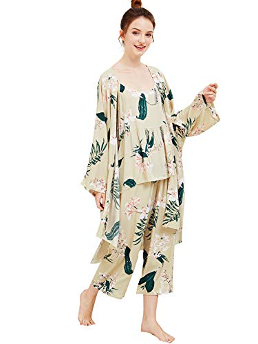 Kimono Robe Floral Print Loungewear 3-Piece Pajama Set Sleepwear Set & Robe Multi-Flower Large ()