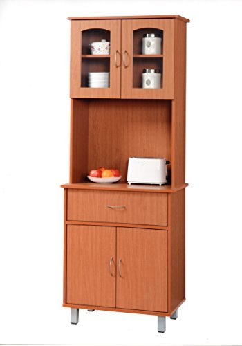 HODEDAH IMPORT Hodedah Long Standing Kitchen Cabinet with Top & Bottom Enclosed Cabinet Space, One Drawer, Large Open Space for Microwave, Cherry Open Storage Space