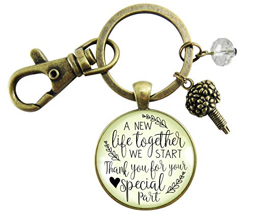 - Wedding Flower Designer Gift Keychain A New Life We Start Rustic Florist Pendant Bridal Bouquet Charm Thank You Card