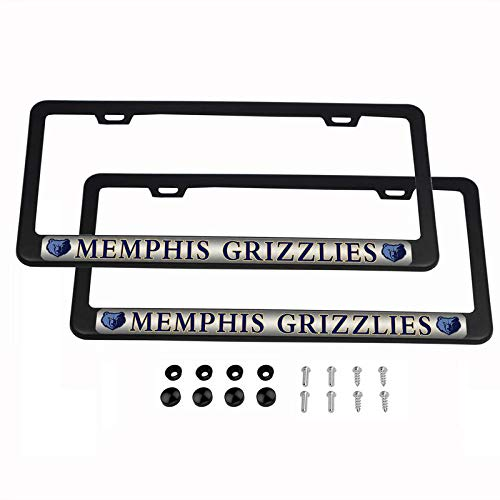 (2PCS NBA Lightweight Matte Black License Plate Frames Powder Coated Aluminum - Memphis Grizzlies)