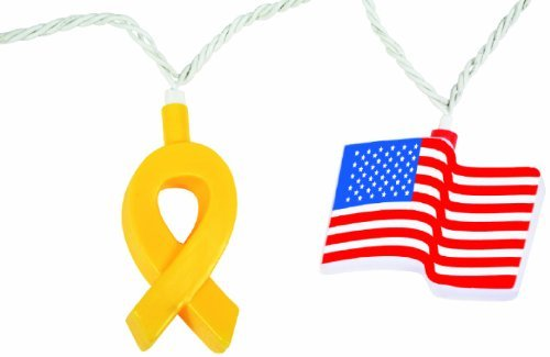 Camco 42657 Patriotic Yellow Ribbon and Flag Party Light Style: Patriotic Yellow Ribbon and - Fla Mall