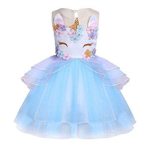 KABETY Baby Girl Unicorn Costume Pageant Flower Princess Party Dress with Headband (140cm, Blue (no -