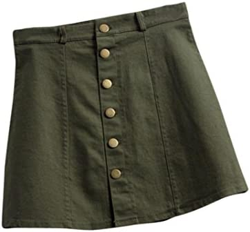 969b8bc87 Amazon.com: Longay Women A-line High Waist Denim Short Skirts Woman Mini  Slim Bodycon Skirt (M, Army Green)