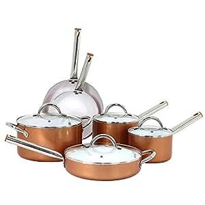 Oneida 10pc Ceramic Non-Stick Cookware Set - Copper Metallic Color