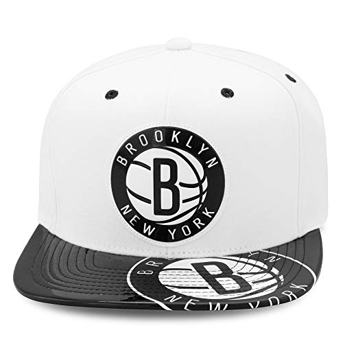Mitchell & Ness Brooklyn Nets Snapback Hat Cap White/Black/Foil (Patent Leather)