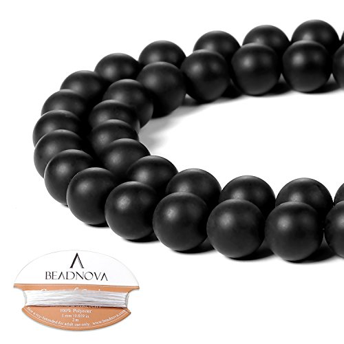 BEADNOVA Black Matte Onyx Beads Natural Crystal Beads Stone Gemstone Round Loose Energy Healing Beads with Free Crystal Stretch Cord for Jewelry Making (8mm, 45-48pcs)