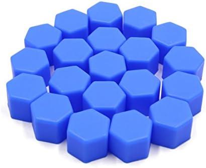 uxcell ナットキャップ ナットカバー シリコーン製 タイヤスクリューキャップ 17mm ブルー 20個入り