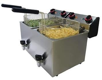 Freidora eléctrica de banco docsa fe82r con grifo de desagüe a 2 senos desmontables de acero inoxidable también apto a la cocción de productos congelados: ...