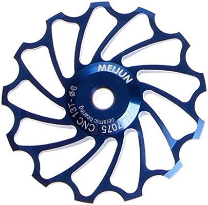 LECHI 13T MTB - Rodamientos de Bicicleta de montaña, Rueda de Aluminio para desviador Trasero, polea guía (1 Unidad), Color Azul: Amazon.es: Deportes y aire libre