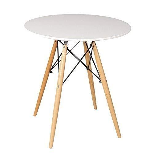 Beat Dining-80, Mesa patas madera y sobre madera blanco estilo nordico para comedor, cocina , balcon , terraza interior