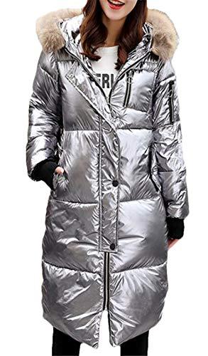 CRYYU Women Quilted Padded Jacket Winter Faux Fur Collar Hooded Metallic Puffer Coat Grey US - Metallic Quilted Jacket