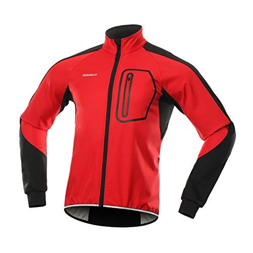 BERGRISAR Men's Winter Softshell Cycling Jacket Windbreaker Water Resistant Thermal Fleece Bike Outerwear BG011 Red Size Large (Best Softshell Cycling Jacket)