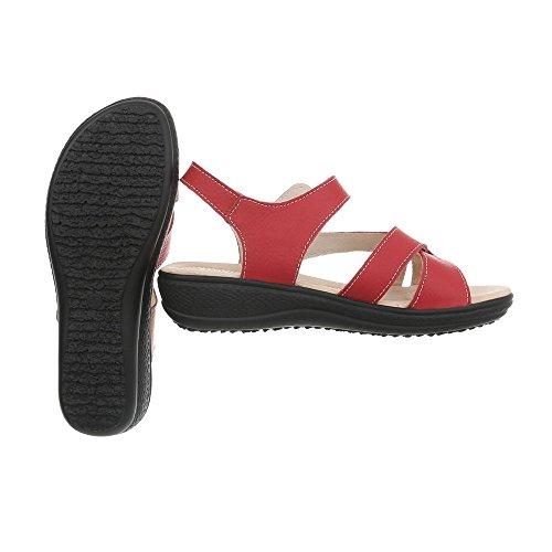 Ital Hebilla Rojo de Zapatos Design Vestir Sandalias Lbs6298 Plano con Para Sandalias Mujer vqvrwx4nfT