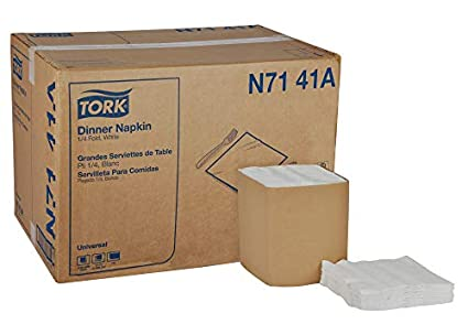 Case of 12 Packs, 500 per Pack, 6,000 Napkins 13 Width x 11.5 Length 1-Ply White 1/4 Fold Tork Universal L3141 Luncheon Napkin