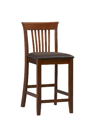 Linon Triena Dark Cherry 24 inch Counter Stool - Linon Solid Wood