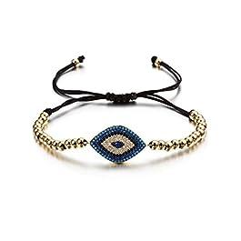 CIUNOFOR Evil Eye Charm Bracelet Gold Rose Gold Plated Stainless Steel Bead Link Italian Style for Women Girls …