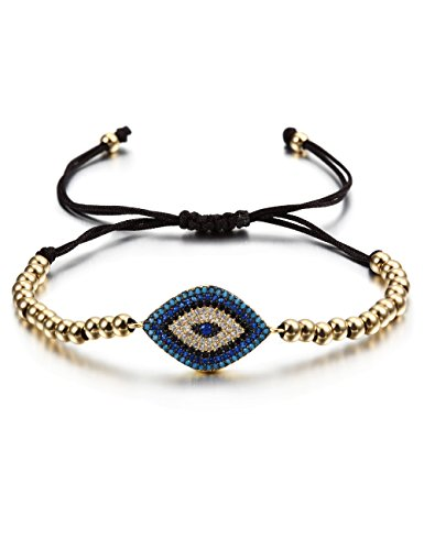 CIUNOFOR Evil Eye Charm Bracelet Gold Rose Gold Plated Stainless Steel Bead Italian Style Women Girls