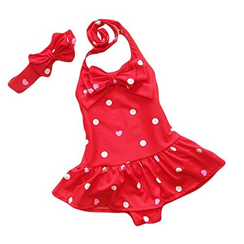 HLWLWOLFOYC Baby Girls Bowknot Spots Swimsuit with Headband, Red, 1-2Y/TagS