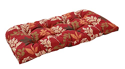 Bossima Indoor/Outdoor Red/Brown Floral Bench & Loveseat Cushion,Spring/Summer Seasonal Replacement Cushions.