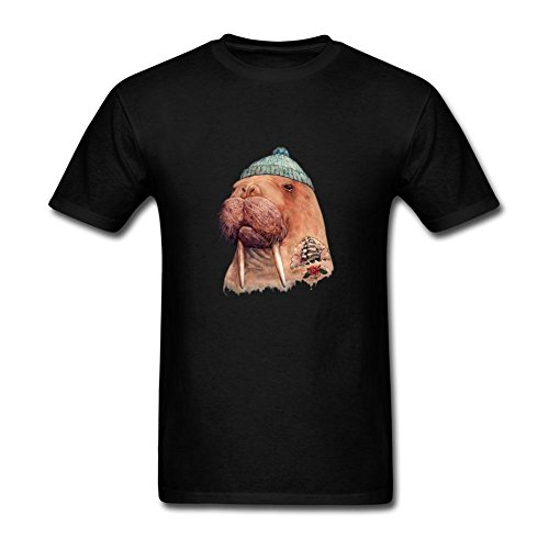 ZhiBo Funny Tattooed Ship Pattern Animal Walrus Customized T-shirts for Mens Black Small