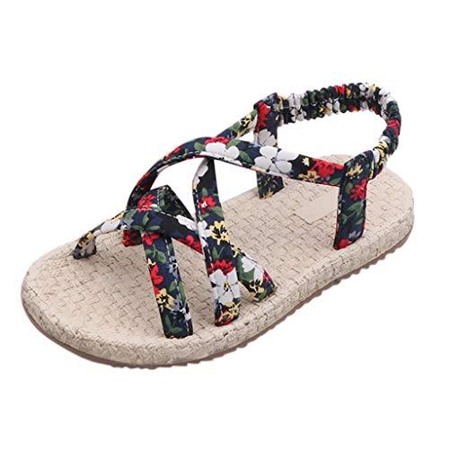 iYBWZH Girls Boho Sandals Kids Beach Wear Flat Sandals Floral Shoes Cruise Holiday Bohemian Flip Flops Princess Casual Shoes ()