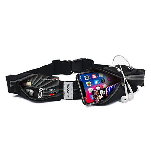 Cangurera para correr, ultra ligera Premium/Cinturón Deportivo Negro con 2 Bolsas Cinturón para hacer ejercicio perfecto...