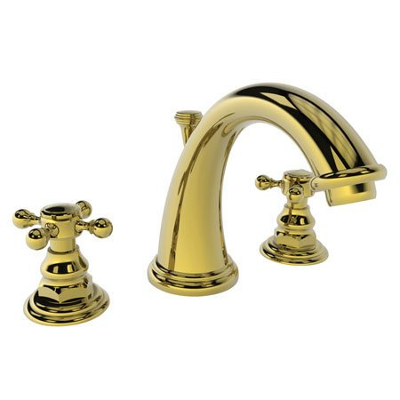 Newport Brass 890/01 Double Handle Widespread Bathroom Faucet with Metal Cross Handles from the 890 S, Forever Brass