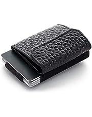 JAIMIE JACOBS Minimalist Wallet Nano Boy Pocket Mini Geldbörse aus Textil mit Zugband schmaler Kartenhalter für Herren und Damen (Diamond Edition Schwarz)