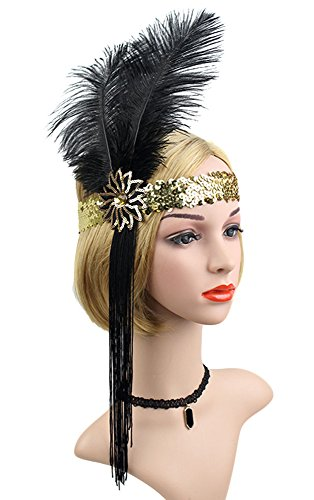 Gold Showgirl Costume (Roaring 20's Sequined Showgirl Flapper Headband Black with Feather Plume (Gold+Black))