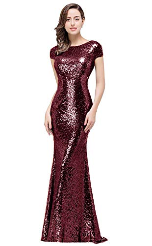 MisShow Sequins Bridesmaid Dresses for Women Formal Long Prom Evening Gowns Burgundy, 4