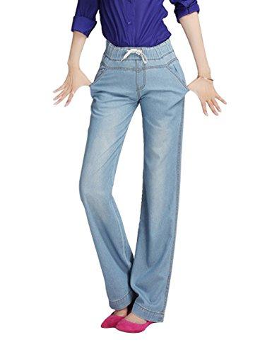 Lunghi Mena Casuali Delle Azzurro Formato Elastici Di Jeans Donne Grande Diritti Uk BOxO6gwqE