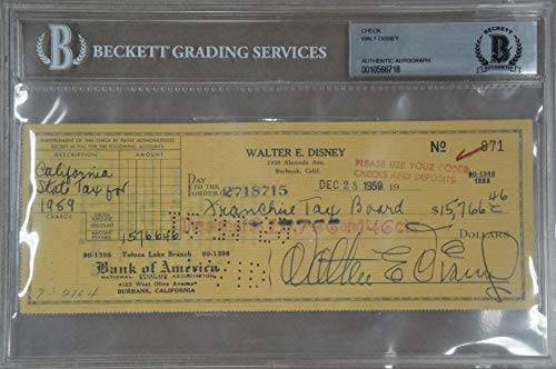 Walt Disney Hand Signed Autographed Personal Check 1959 Taxes Beckett (Disney Personal Checks)