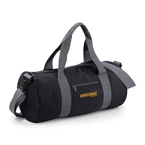 Kleine Reisetasche / Sporttasche / Gepäcktasche: Tasche mit IHREM persönlichem Schriftzug sportliche Reisetasche Farbe: schwarz