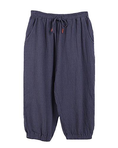 Modishou Women's Linen Drawstring Pants Loose Bloomers Trousers Grey Blue