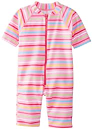 i play. Baby One Piece Swim Sunsuit, Pink Multi Stripe, 12 Months