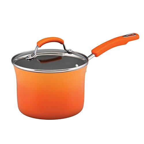 Orange Rachael Ray Covered Pot - Rachael Ray Classic Brights Hard Enamel Nonstick 3-Quart Covered Saucepan, Orange