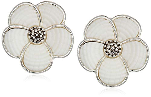 Napier Women's Silver/White EZ Comfort Clip Flower Button Earrings