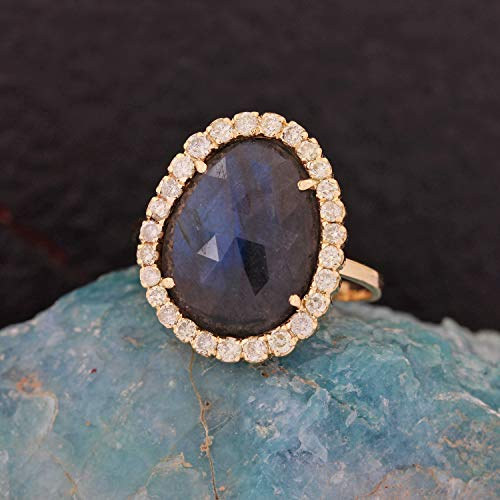 Natural 0.41 Ct. Diamond Cocktail Ring Labradorite Gemstone Wedding Jewelry Solid 14k Yellow Gold Handmade Fine Jewelry Valentine Day Gift For Her