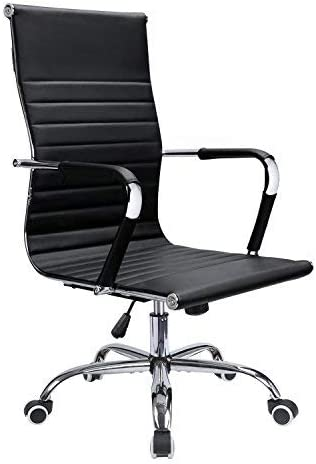 Devoko Office Desk Chair Mid Back Leather Height Adjustable Swivel Ribbed Chairs Ergonomic Executive Conference Task Chair