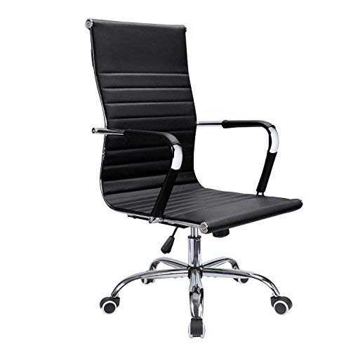 Devoko Office Desk Chair Mid Back Leather Height Adjustable Swivel Ribbed Chairs Ergonomic Executive Conference Task Chair with Arms (Black) by Devoko