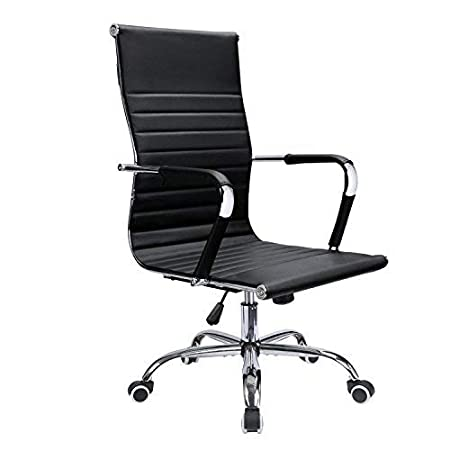 Devoko Office Desk Chair Mid Back Leather Height Adjustable Swivel Ribbed Chairs Ergonomic Executive Conference Task Chair with Arms Black
