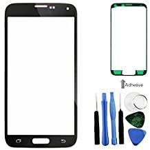 BisLinks® Black Front Screen Glass Lens Repair + Tools Adhesive Fr Samsung Galaxy S5 i9600